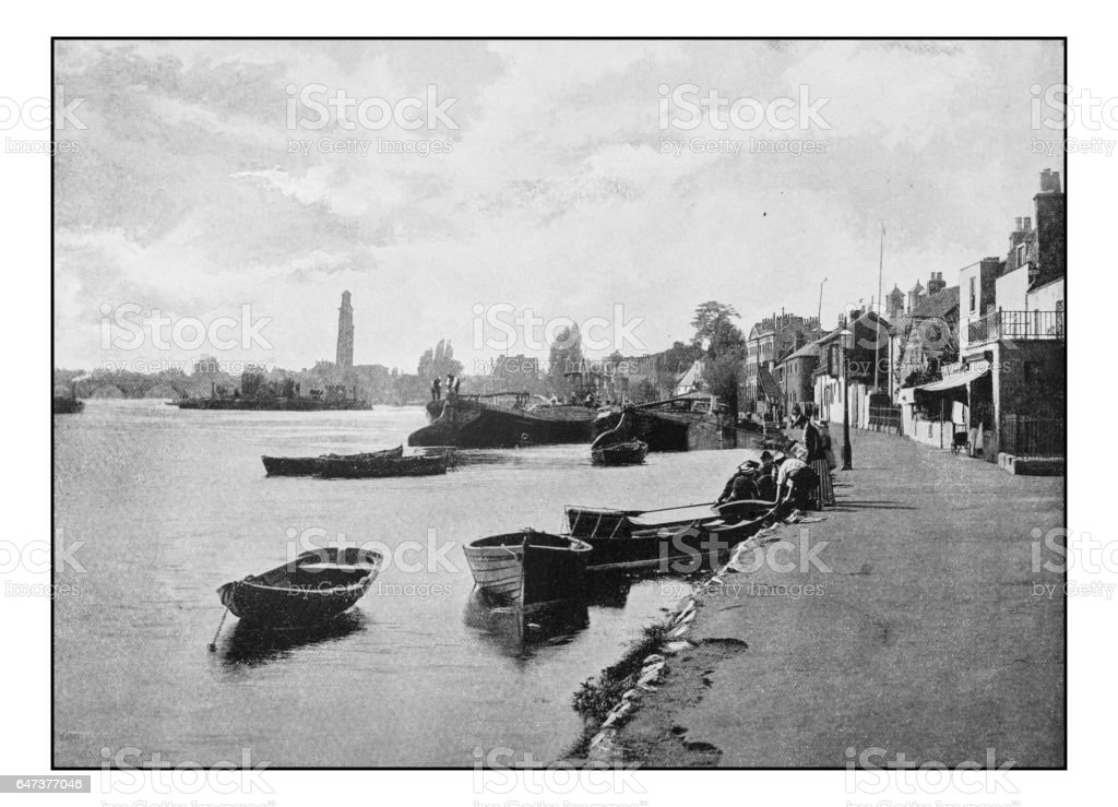 Antique London's photographs: Strand-on-the-Green stock photo