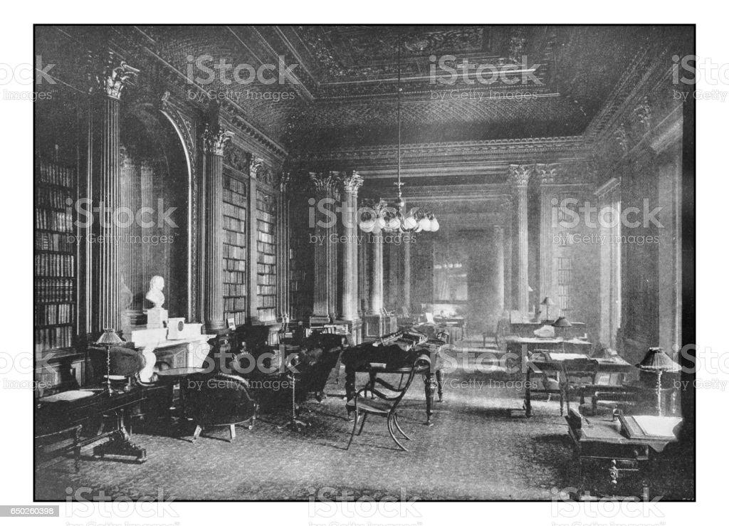 Antique London's photographs: The reform club, the library Antique London's photographs: The reform club, the library 1890 Stock Photo