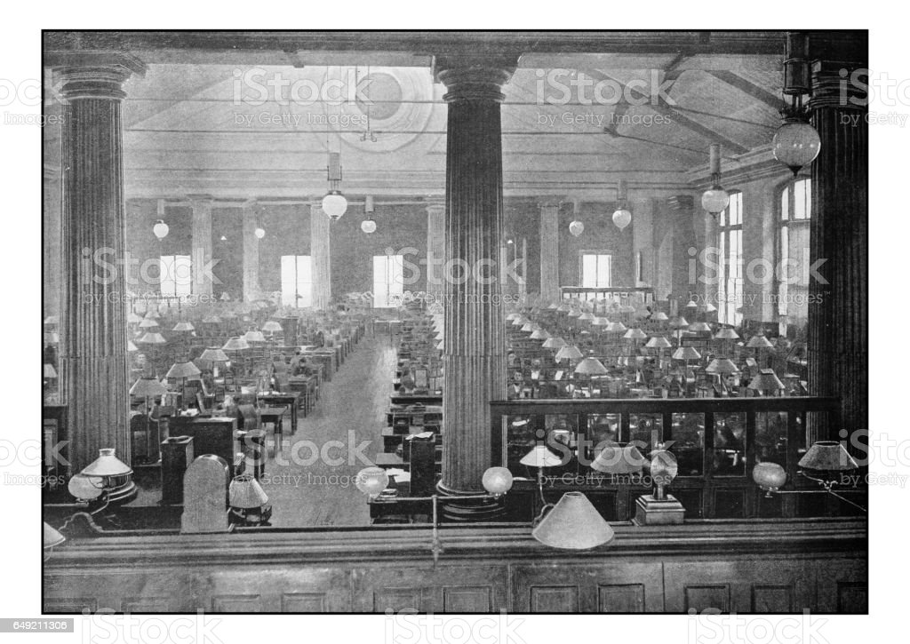 Antique London's photographs: The telegraph instrument galleries, General Post office stock photo