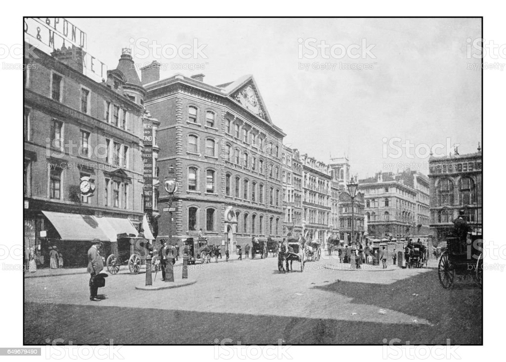 Antique London's photographs: 'The Times' office, Queen Victoria Street stock photo