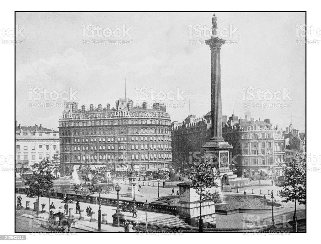 Antique London's photographs: Trafalgar Square stock photo