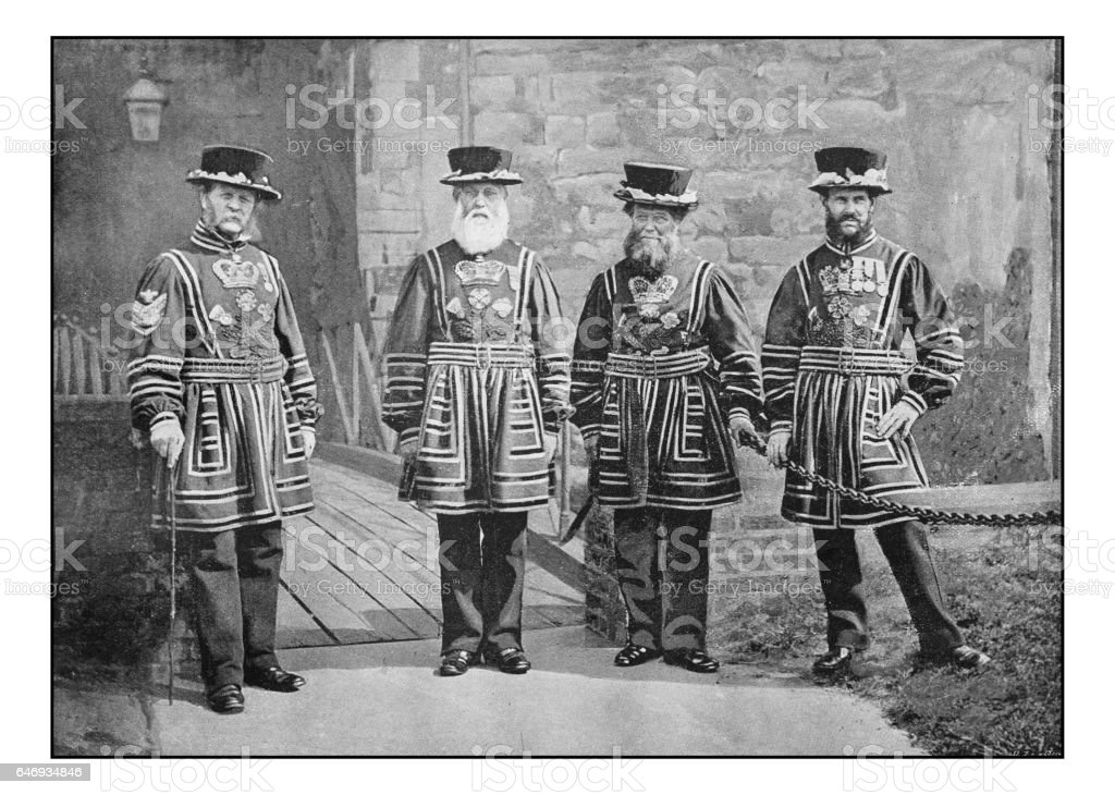 Antique London's photographs: Warders of the guard stock photo