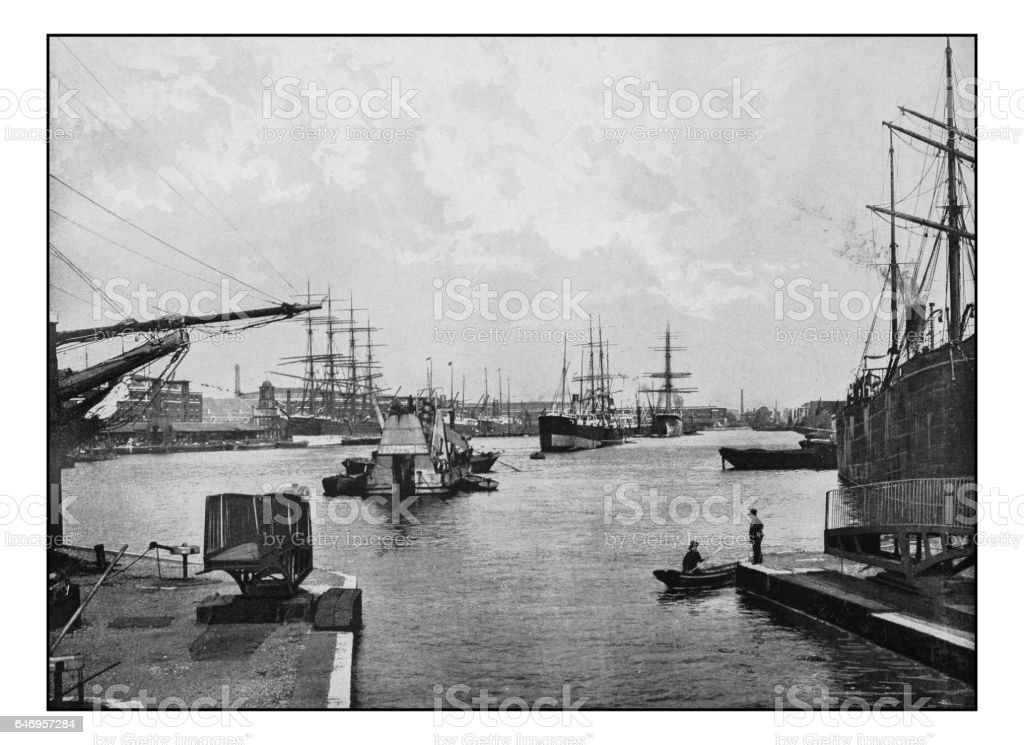 Antique London's photographs: West India import dock stock photo