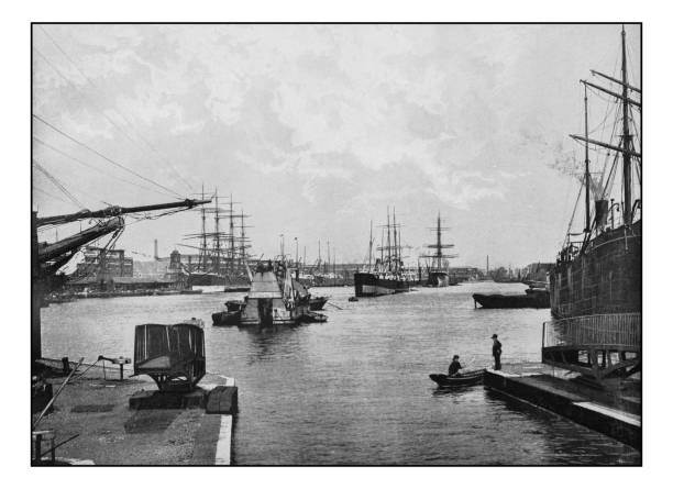 Antique London's photographs: West India import dock Antique London's photographs: West India import dock 1890 stock pictures, royalty-free photos & images