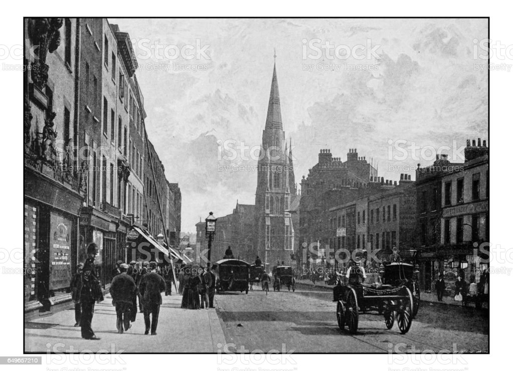 Antique London's photographs: Westminster Bridge Road, with Christ Church stock photo