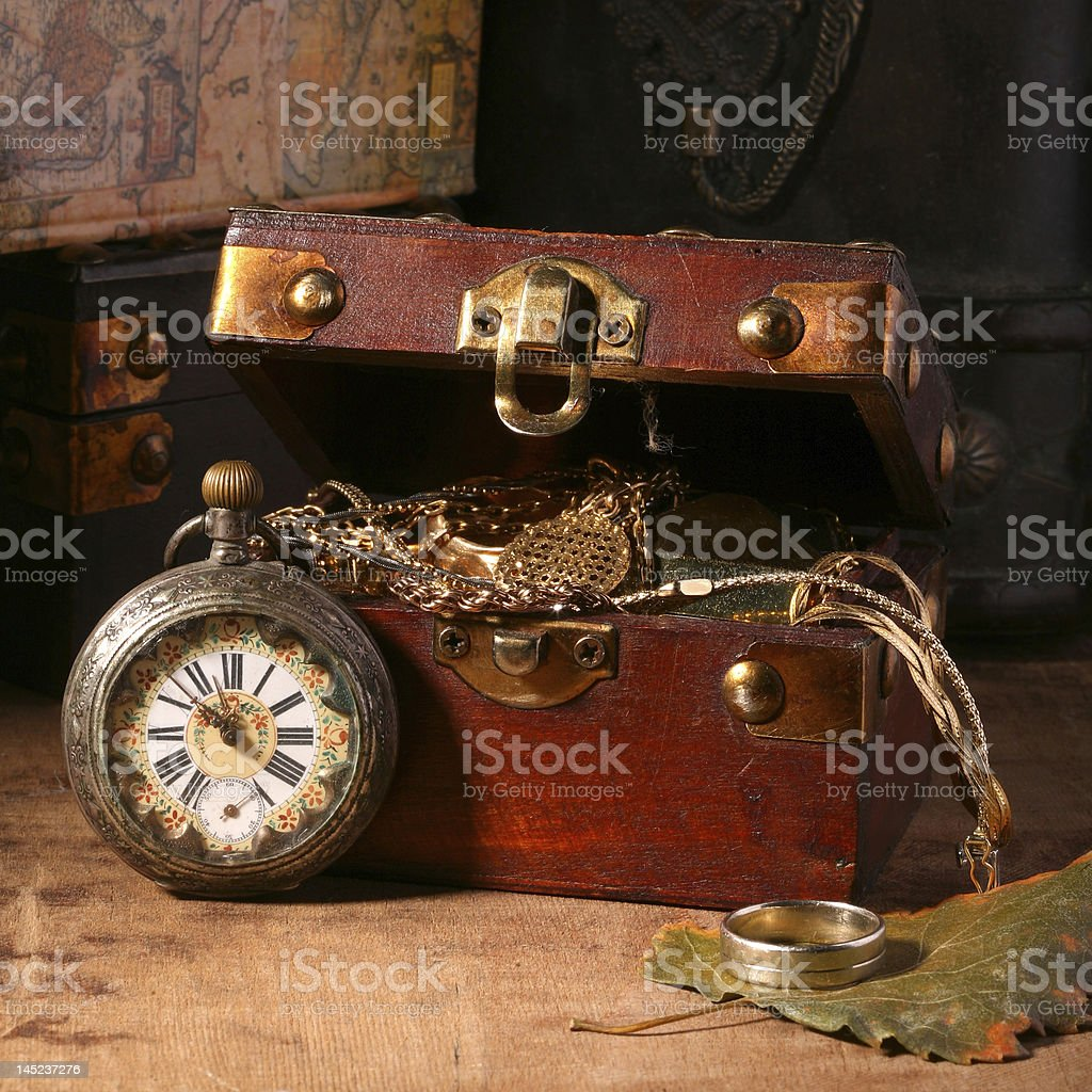 Antique looking clock stock photo