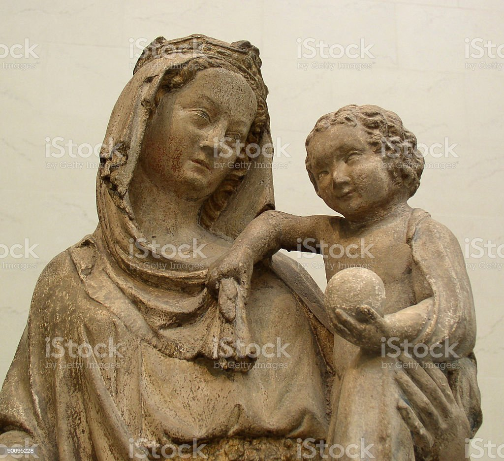 Antique Madonna and Child royalty-free stock photo