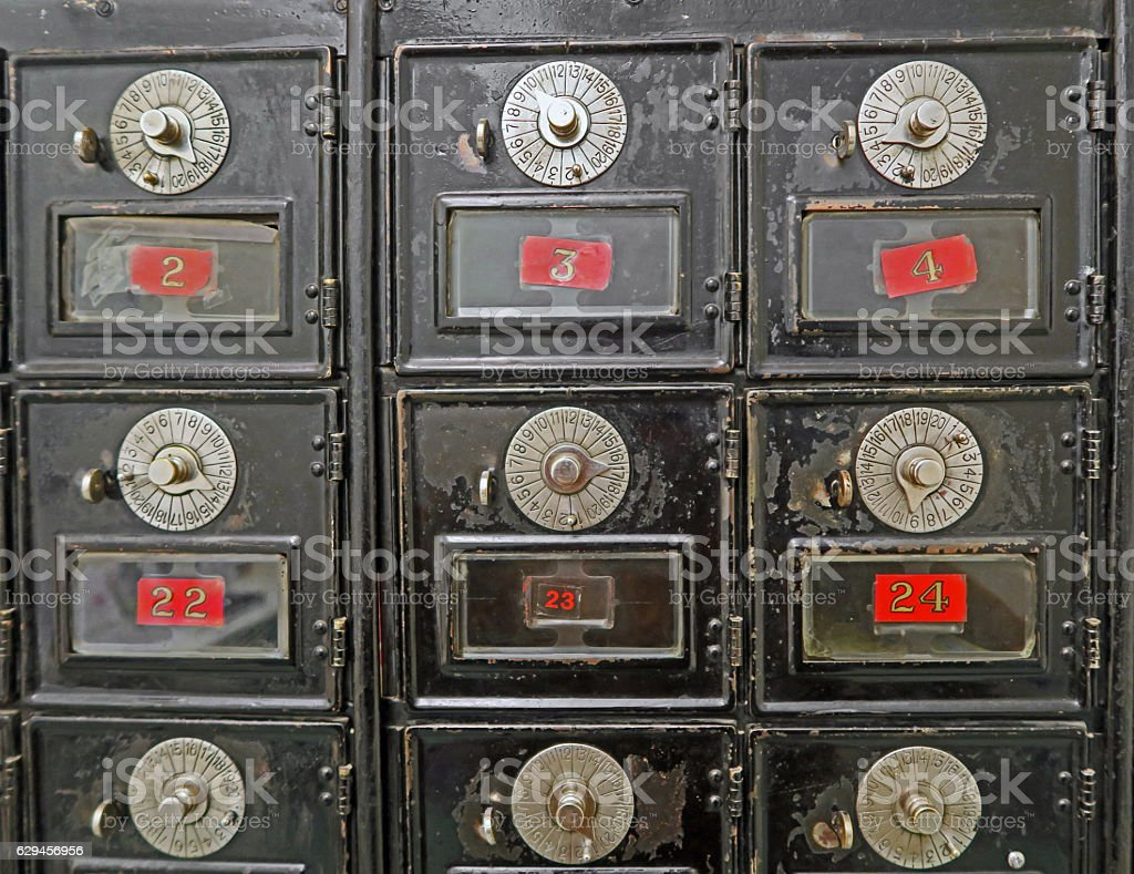 Antique Mailboxes from early 1900's with combination lock stock photo