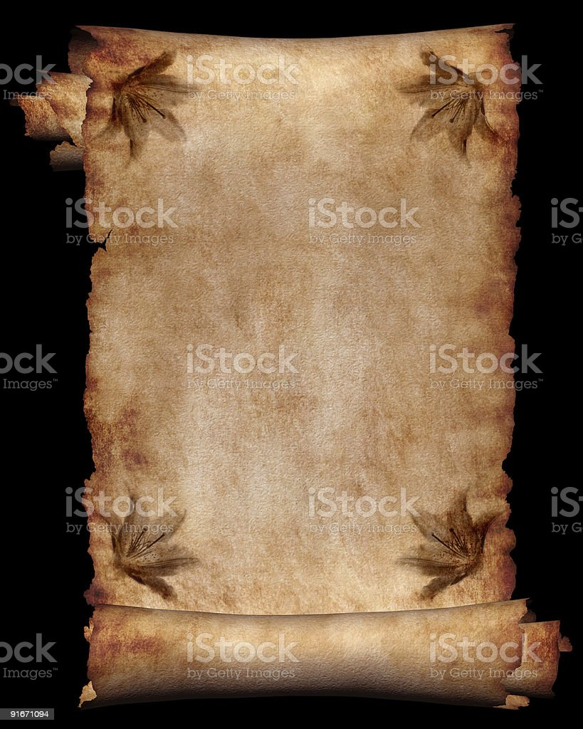 Antique manuscript paper background isolated royalty-free stock photo