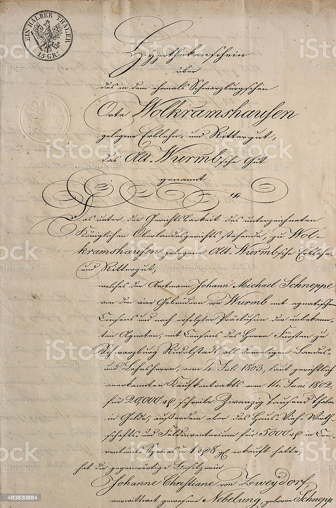 Antique manuscript with calligraphic handwritten text. Paper texture stock photo