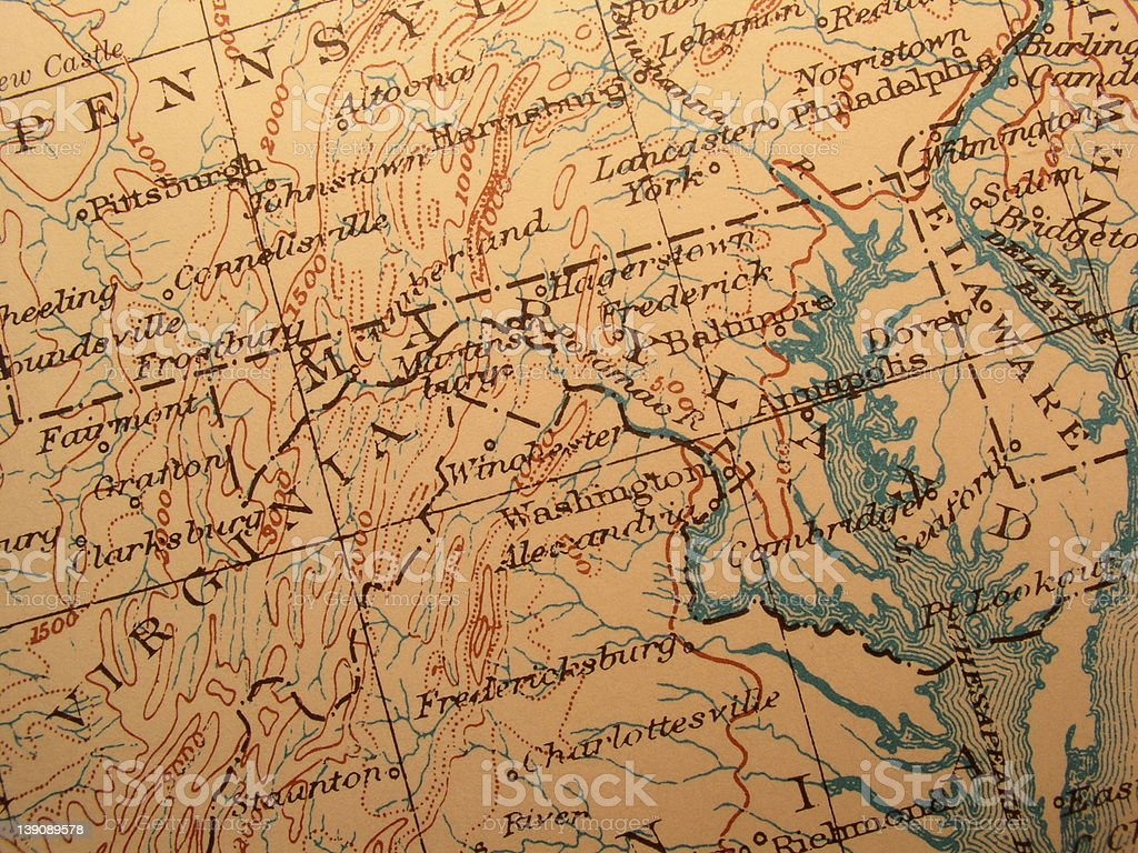 Antique map, American Capitol area, Washington, DC stock photo