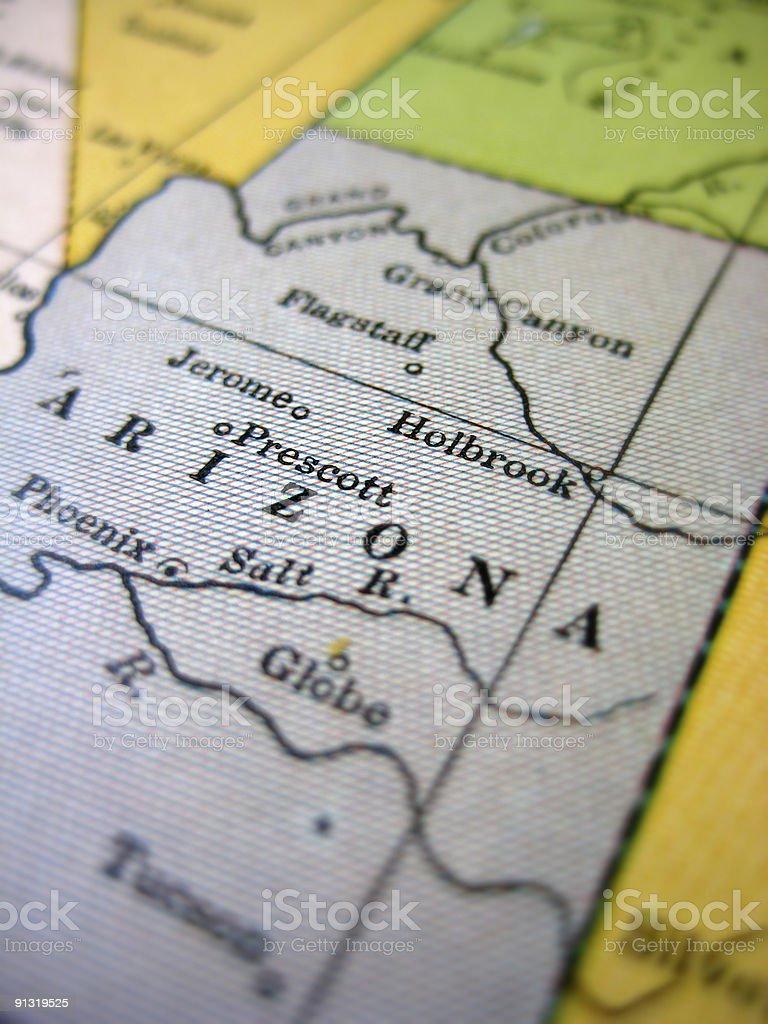 Antique Map Arizona stock photo