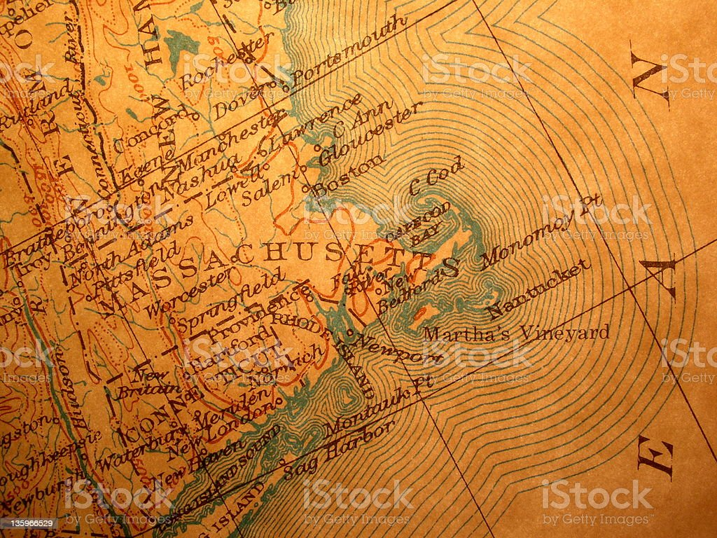 Antique map, backlit American Northeast coast stock photo
