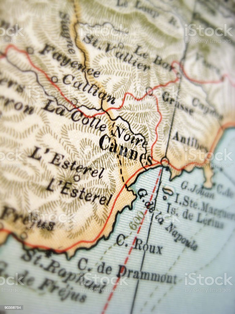 Antique Map Cannes stock photo