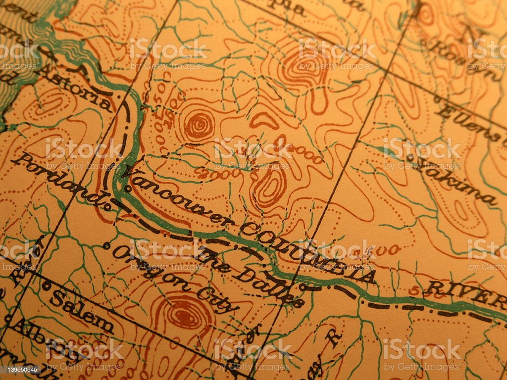 Antique map, Columbia River - Dalles royalty-free stock photo