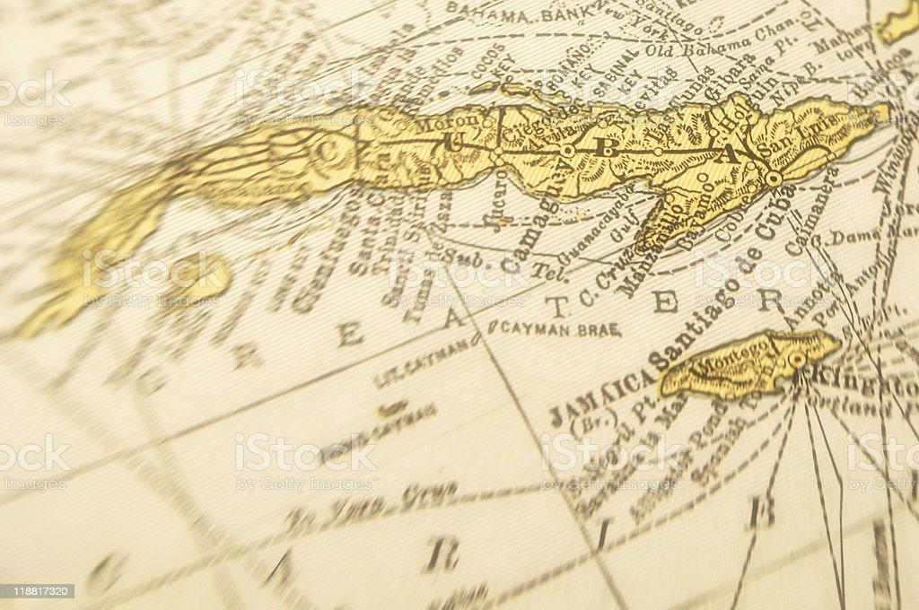 Antique Map Cuba stock photo
