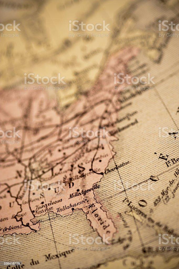 Antique Map   East Coast USA stock photo