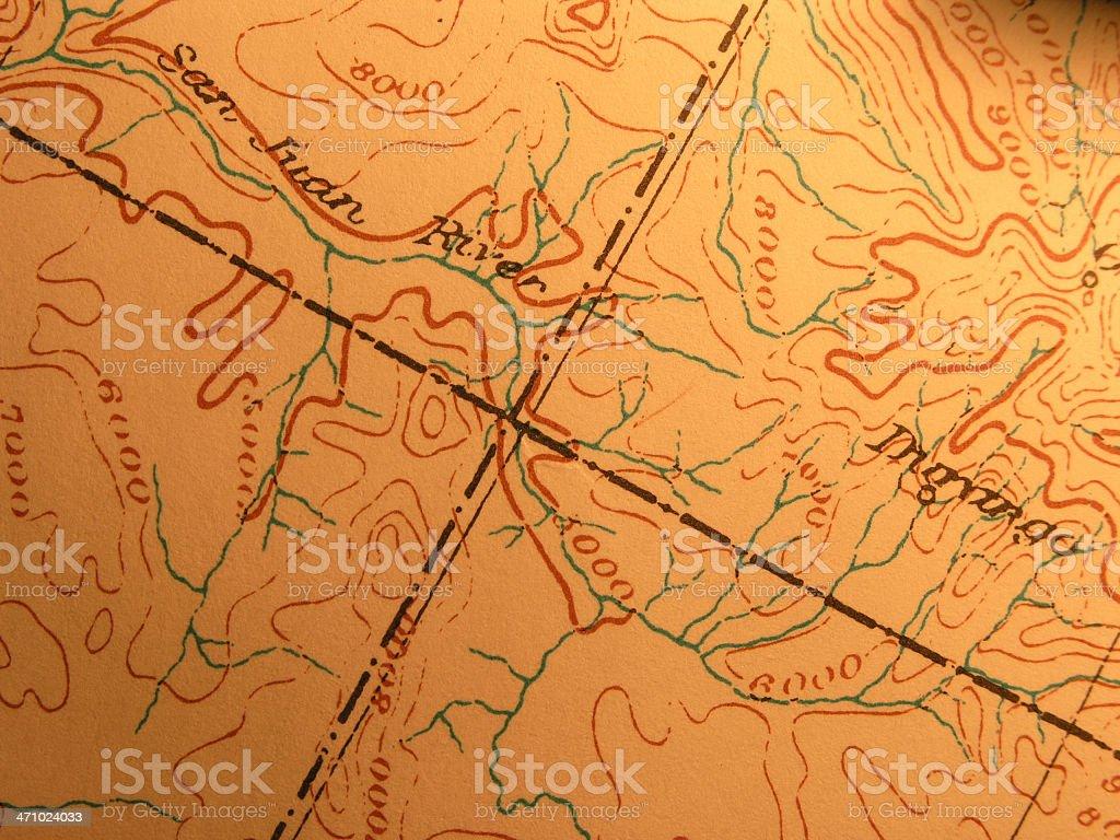 Antique map, Four Corners of Arizona, Utah, Colorado, New Mexico stock photo