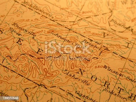 Antique map 1916 government-copyright free. Rich paper texture and warm colors make this a nice background or decor print. Centered on Great Smoky mountains region on boarder of Tennessee and North Carolina. Includes Great Smoky Mtns. National Park