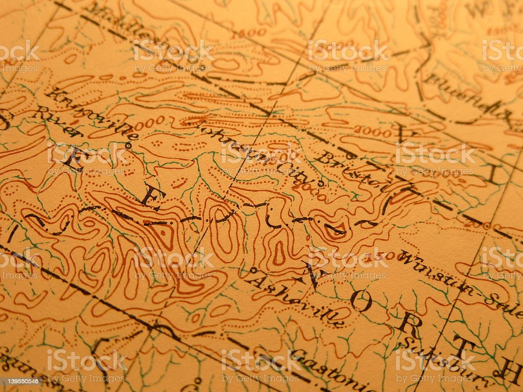 Antique map, Great Smoky Mountains stock photo