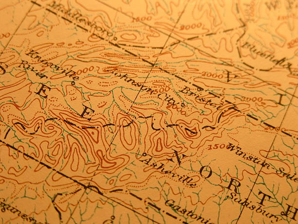 antique map, great smoky mountains - tennessee map stock photos and pictures