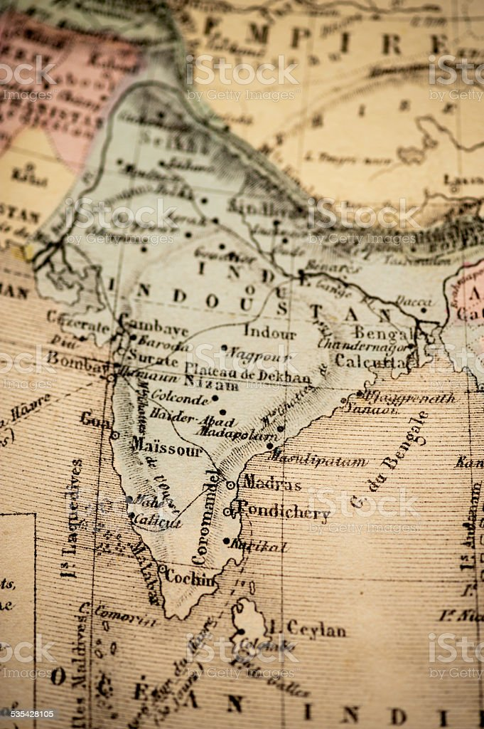 Antique Map | India 1869 stock photo