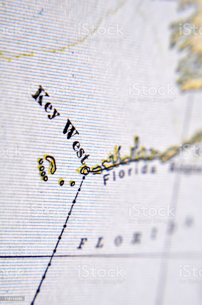 Antique Map Key West stock photo