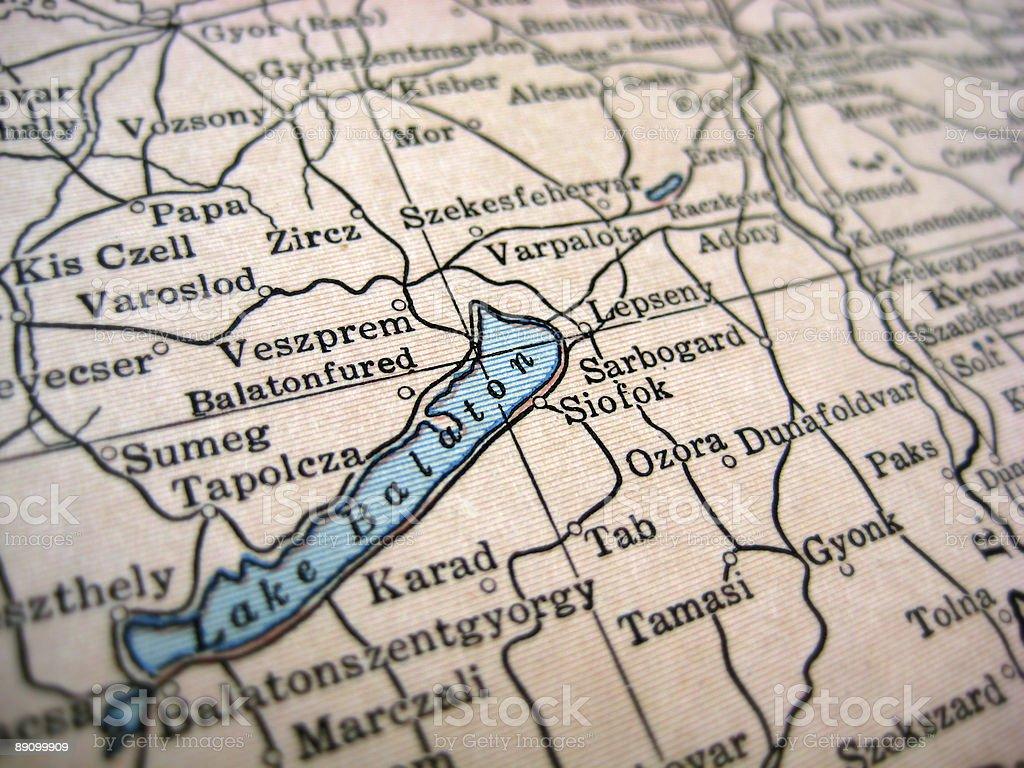 Lago Balaton mapa antiguo foto de stock libre de derechos