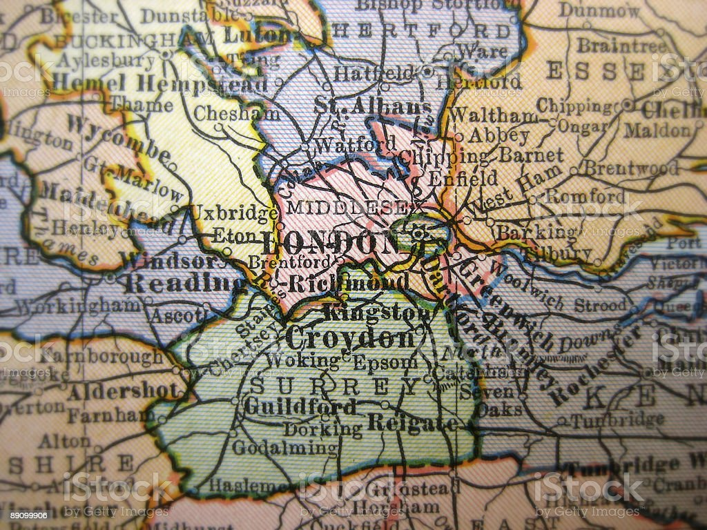 Antique Map London royalty-free stock photo