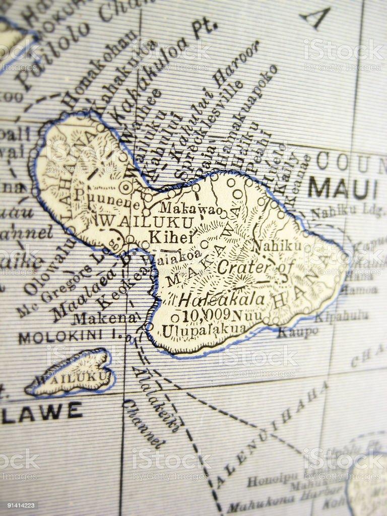 Antique Map Maui stock photo