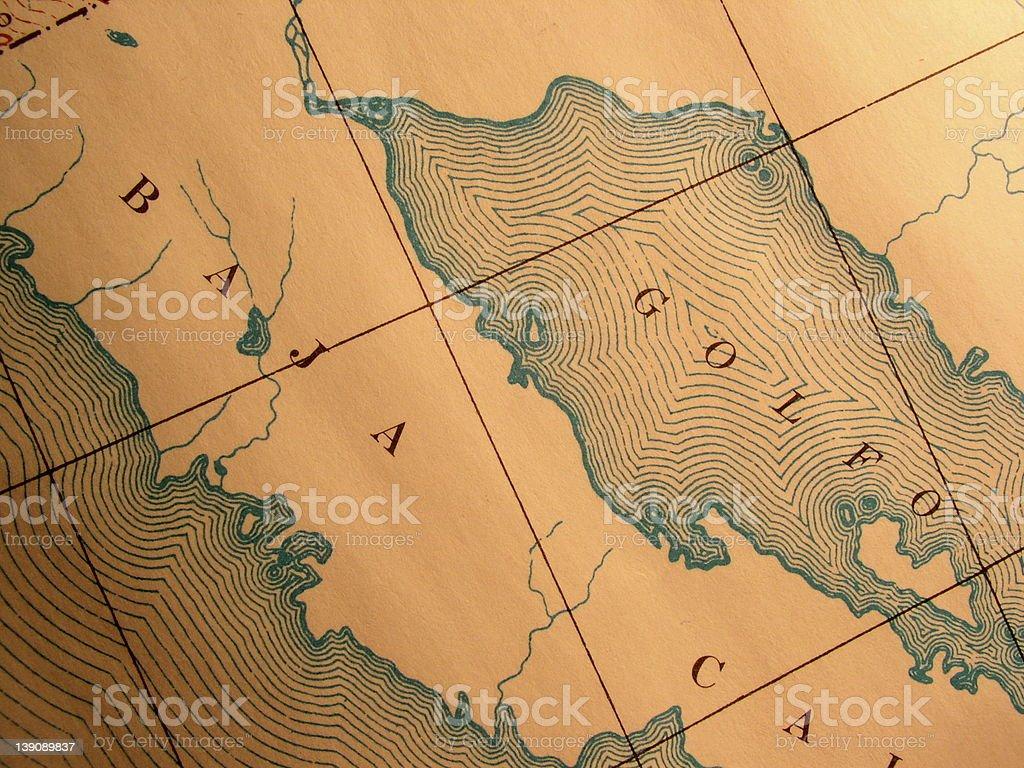Antique map, Mexico's Baja California stock photo