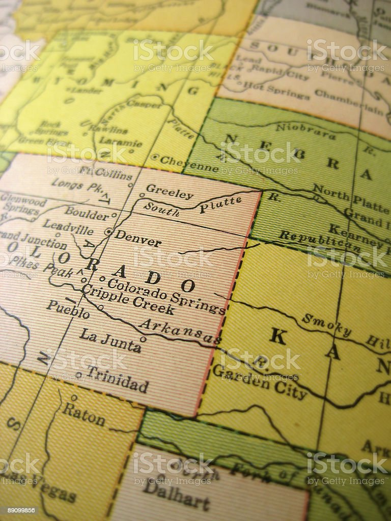 Antique Map Midwest USA stock photo