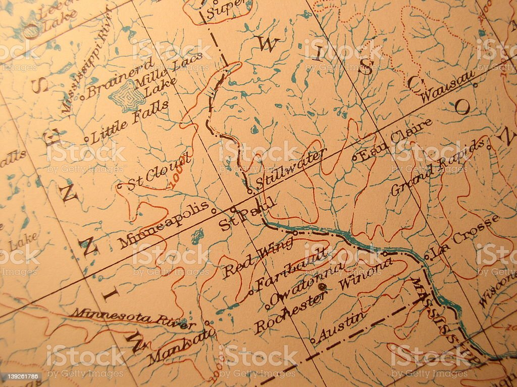 Antique map, Minnesota and Wisconsin stock photo