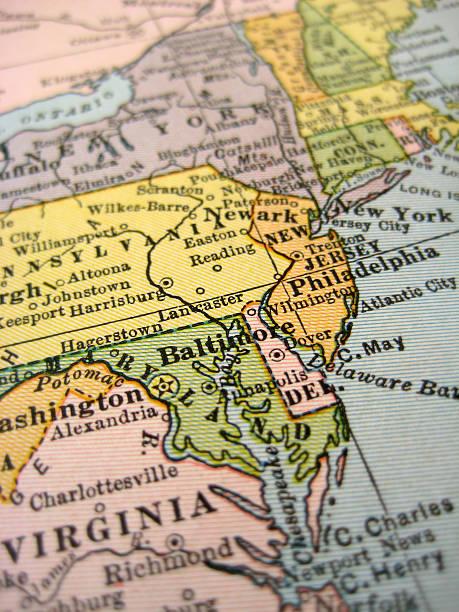 alte karte von new england - karten de stock-fotos und bilder