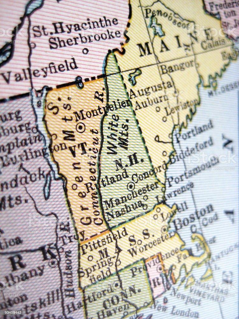 Antique Map New Hampshire stock photo