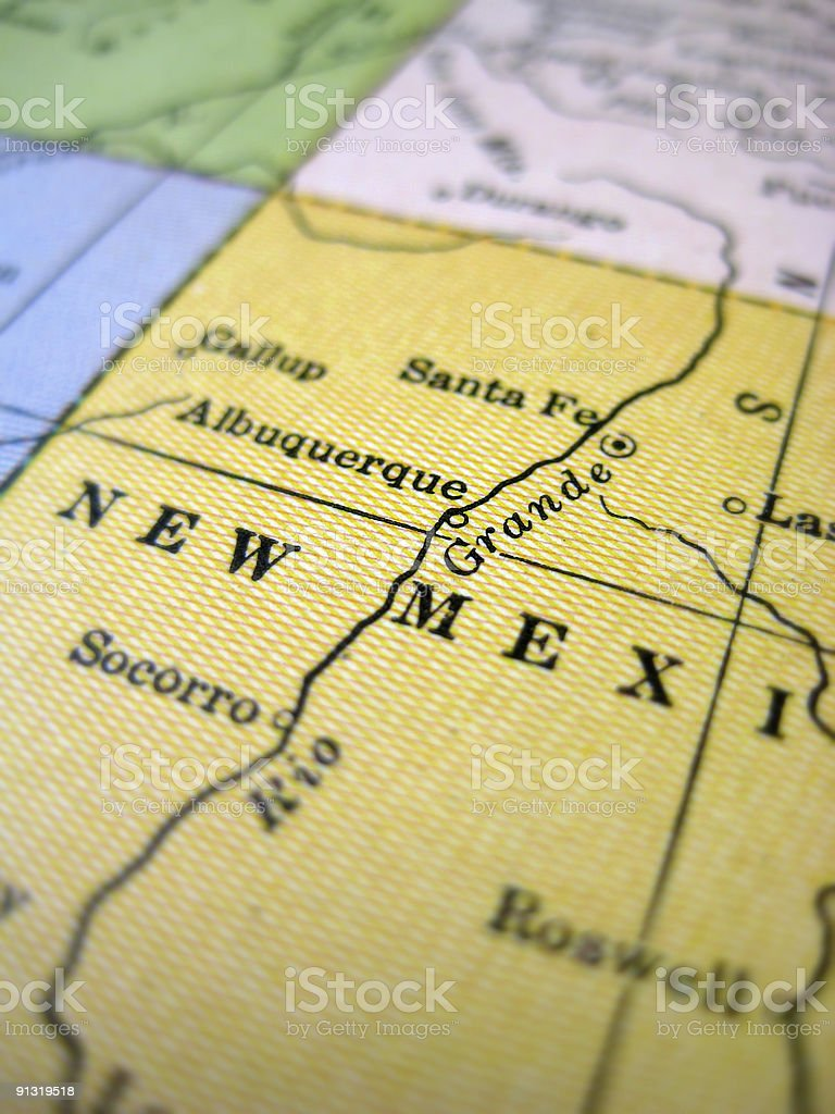 Antique Map New Mexico stock photo
