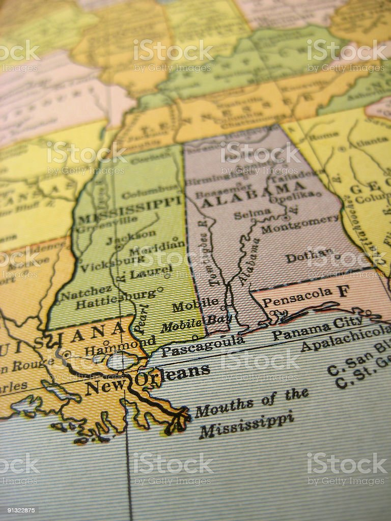 Antique Map New Orleans stock photo