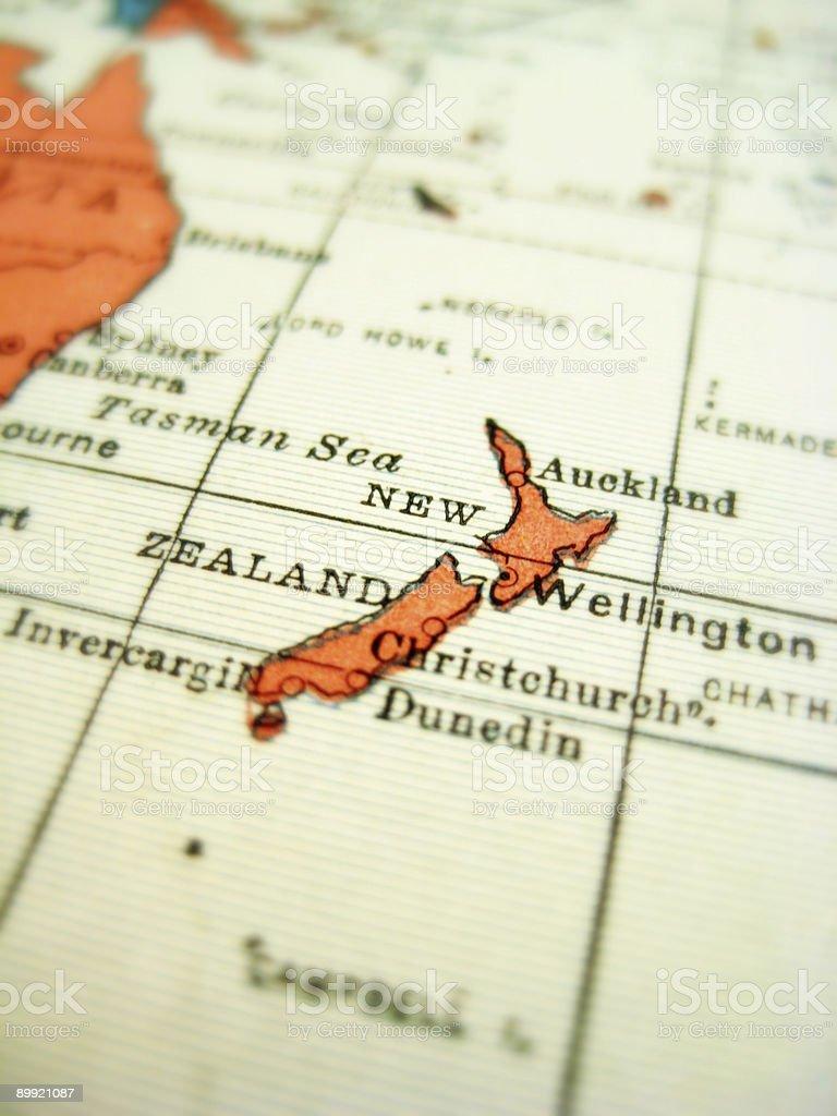 Antique Map New Zealand stock photo