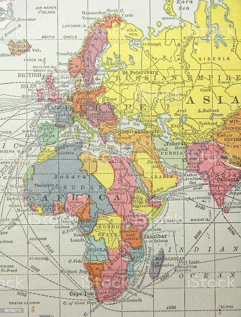 Cartina Geografica Europa E Africa.Antica Mappa Dellafrica Europa E Medio Oriente Fotografie Stock