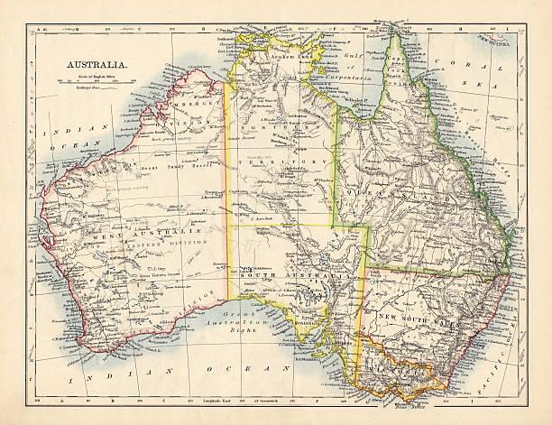 Antique Map of Australia stock photo
