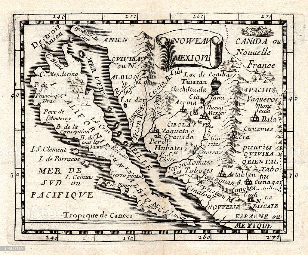 Antique Map Of California Island In 1675 Stock Photo