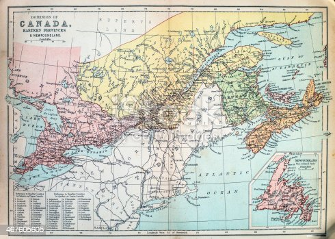 Victorian era map of Canada originally published in 1880