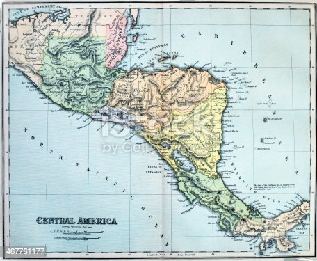 Victorian era map of Central America originally published in 1880