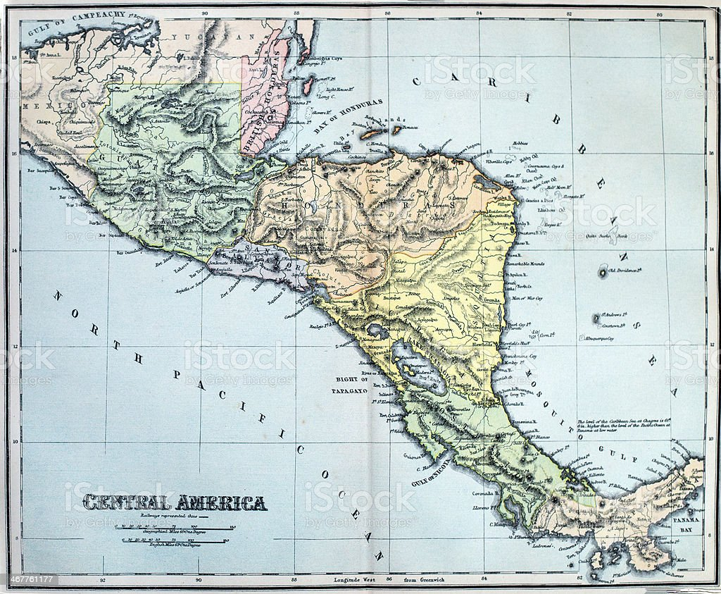 Antique Map of Central America stock photo