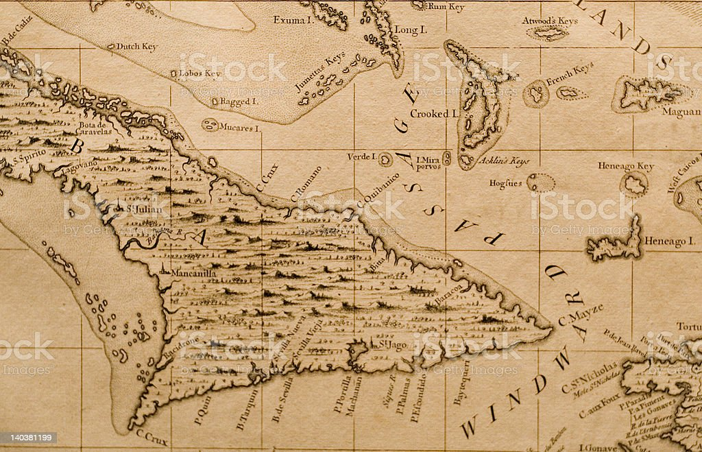 Antique map of eastern Cuba stock photo