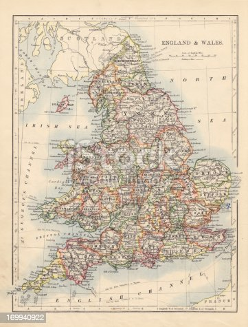 Antique Map of England from a book dated 1895. Digitally Remastered by Nick Free 2012.