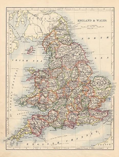 Antique Map Of England & Wales stock photo