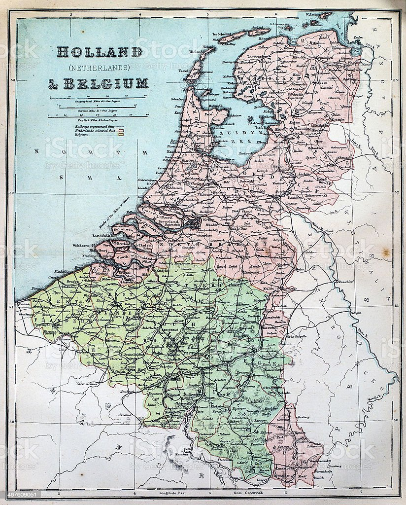 antique map of holland and belgium royalty free stock photo