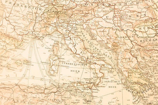 antique map of italy,1895. - italy map stock photos and pictures