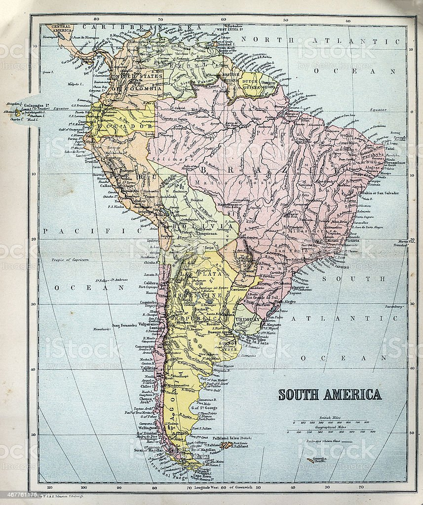 Antique Map of South America stock photo